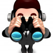 The Service Man a binoculars watching. 3D Salesmen Character - Stock Photo