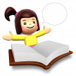 Stock Photo: Big book report fun girl children. 3D Kids Character
