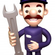 Service man Grasp a Spanner. 3D Service Man Character — Stock Photo