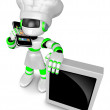 A Chef Robot during a phone call. 3D Robot Character — Stock Photo