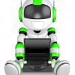 Laptop sitting on the green robot. 3D Robot Character - Stock Photo