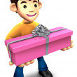 Young man holding a gift box long. 3D Family Character — Stock Photo #13595666