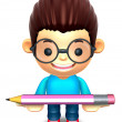 Lift up the glasses children Big pencil. 3D Kids Character — Stock Photo