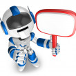 Stock Photo: Blue Robot holding signpost. 3D Robot Character