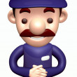 Stock Photo: Politely greeting service Man. 3D Business Character