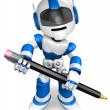 The writing with a pencil a Blue Robot. 3D Robot Character — Stock Photo