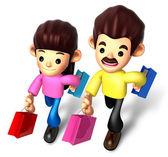 я люблю ходить по магазинам для пар, 3d семейный характер — Стоковое фото