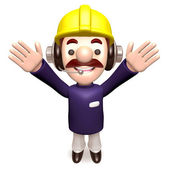 Hurray! Construction work a member of the staff — Stock Photo