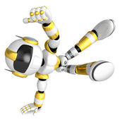 Vigorously dancing gold robot. 3D Robot Character — Stock Photo