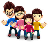Happy family welcome. 3D Home Character — Foto Stock