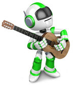 Green robot to play the acoustic guitar. 3D Robot Character — Stock Photo