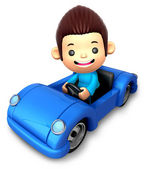 Ragazzo in sella a un'auto blu aperta. personaggio 3d di bambini — Foto Stock