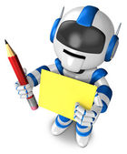 Blue robot Grasp a pencil and board. 3D Robot Character — Stock Photo
