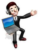 The laptop sale shop staff grasp. 3D Business Character — Stock Photo