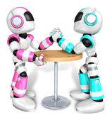 洋红色机器人与科学论派机器人手臂摔跤摊牌 — 图库照片