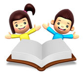 A boys and girls in the big book reading. 3D Children Character — Stock Photo