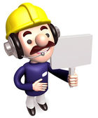 The workers Grasp the signpost. 3D construction works Character — Stock Photo