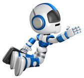 Flying Robot carrying a Briefcase. 3D Robot Character — Стоковое фото