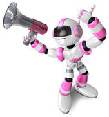 The pink robot in to promote Sold as a loudspeaker. 3D Robot Cha — Stock Photo