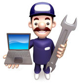 The Man Grasp the laptop and spanner. 3D Service Man Character — Stock Photo