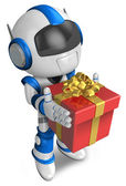 Blue robot holding a gift faintheartedly. 3D Robot Character — Stock Photo