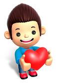 A Man Grasp a Heart. 3D Children Character — Stock Photo