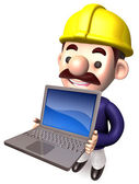 A Workers Shows Laptop. 3D Construction Works Character — Stock Photo