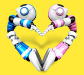 The heart in the form of body language. 3D Robot Character — Stock Photo