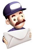 Service man Grasp a big letter. 3D Service Man Characte — Stock Photo
