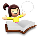 большая книга доклад весело девочек. 3d дети персонаж — Стоковое фото