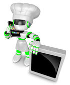A Chef Robot during a phone call. 3D Robot Character — 图库照片