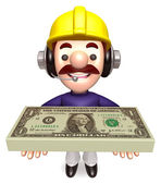 Construction Workers lift up the Dollar Bundle — Stock Photo