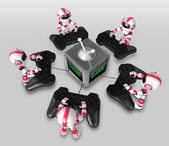 The boat Red Robot playing Games. 3D Robot Character — Stock fotografie