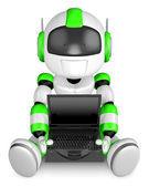Laptop sitting on the green robot. 3D Robot Character — Stock Photo
