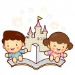 Boys and girls sitting on top of a popup book. Vector Character - ベクター素材ストック
