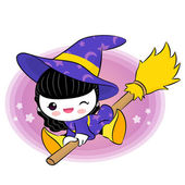 Wee witch flying on broom. Halloween Vector Characters — Stock Vector