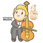 The man playing the cello. Instrumental music Vector character — Stock Vector
