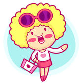 Realize the it girl shopping. Style Girl Vector Character — Stock Vector