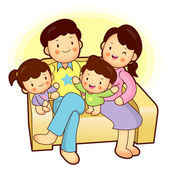Happy family sitting in couch above. Home Vector Character — Stock Vector