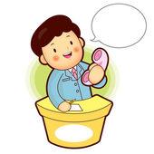 консультировать телефона – это деловой человек, бизнес человек персонаж назн — Cтоковый вектор