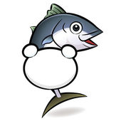 文字のマグロのバナーを保持しています。魚族キャラ — ストックベクタ