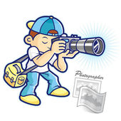 Photographer and photo shoot. A photographer Character Design — Stock Vector