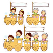 The train trip is an enjoyable family characters. Home Character — Stock Vector