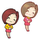 Personnel et vendeuse. design des personnages style fille — Vecteur