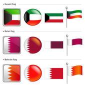 Kuwait and Qatar, Bahrain Flag Icon — Stock Vector
