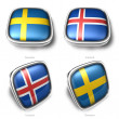 Sweden and Iceland 3d metallic square flag button — Foto Stock