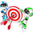 Foto Stock: The blue robot and green robot Darts Listen up by hands. 3D Robo