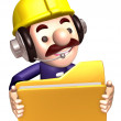 A construction staff hand Grasp the folder. 3D Works Character D — Stock Photo