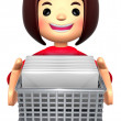 Stock Photo: Girl holding bunch of letters. 3D Family Character Design