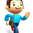 The boys ran urgently. 3D Kids Character Design — Stock Photo